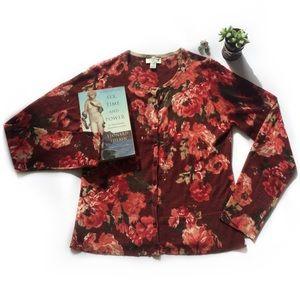 Ann Taylor LOFT Red Floral Cardigan Women's Large